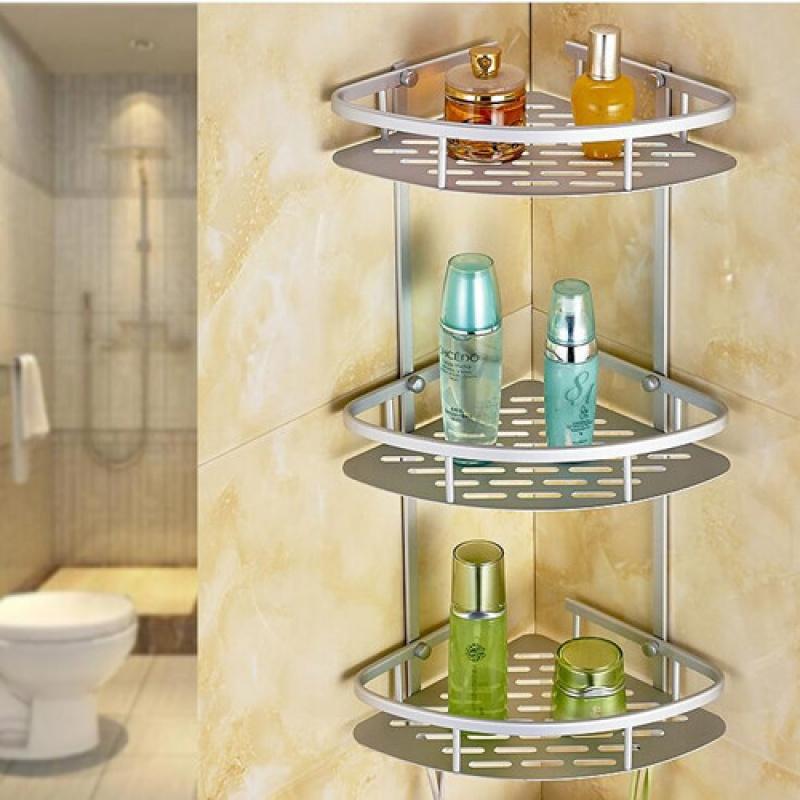 Bathroom Triangular Shower Shelf Corner Bath Storage Holder Organizer Rack UK