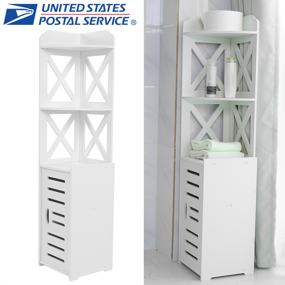 Details about Modern Bathroom Cabinet Corner Storage Unit Shelf Cupboard  With 1 Door White