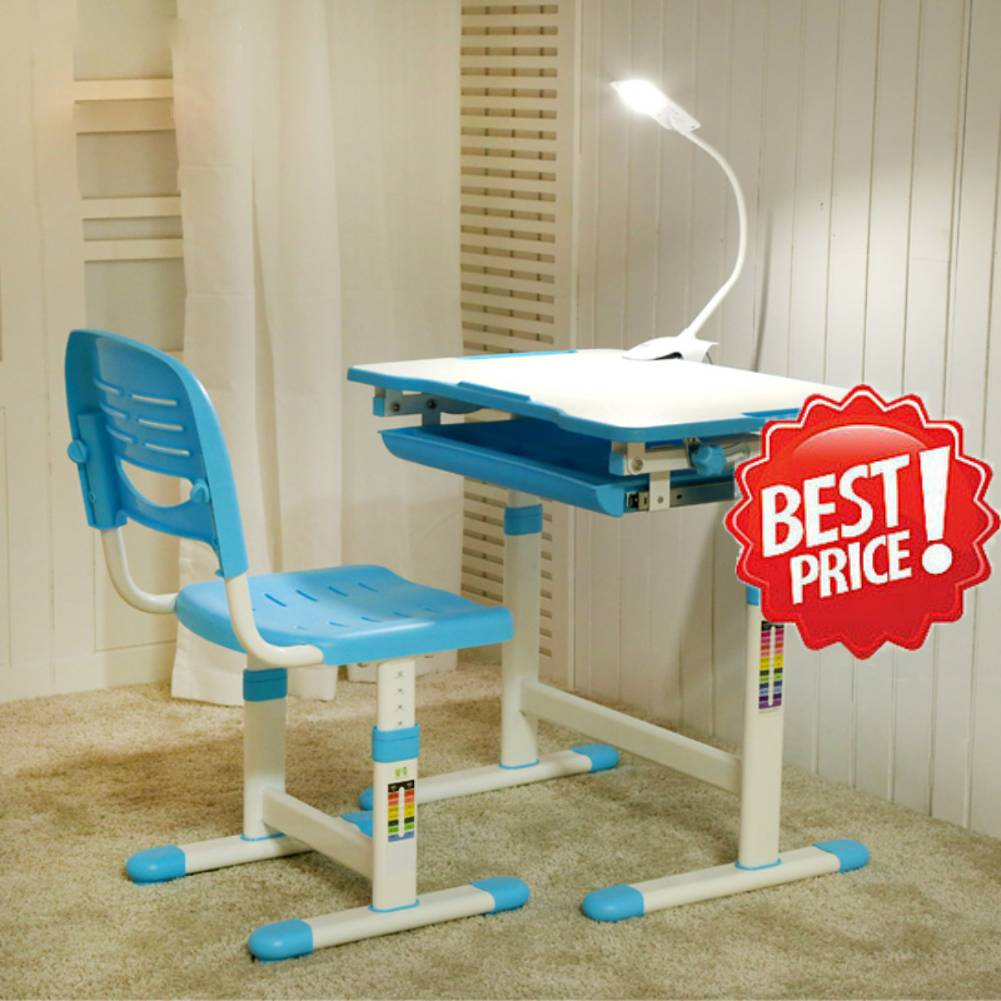 Incredible Details About Height Adjustable Children Kids Study Desk Table Chair Set Ergonomic Blue Color Gmtry Best Dining Table And Chair Ideas Images Gmtryco