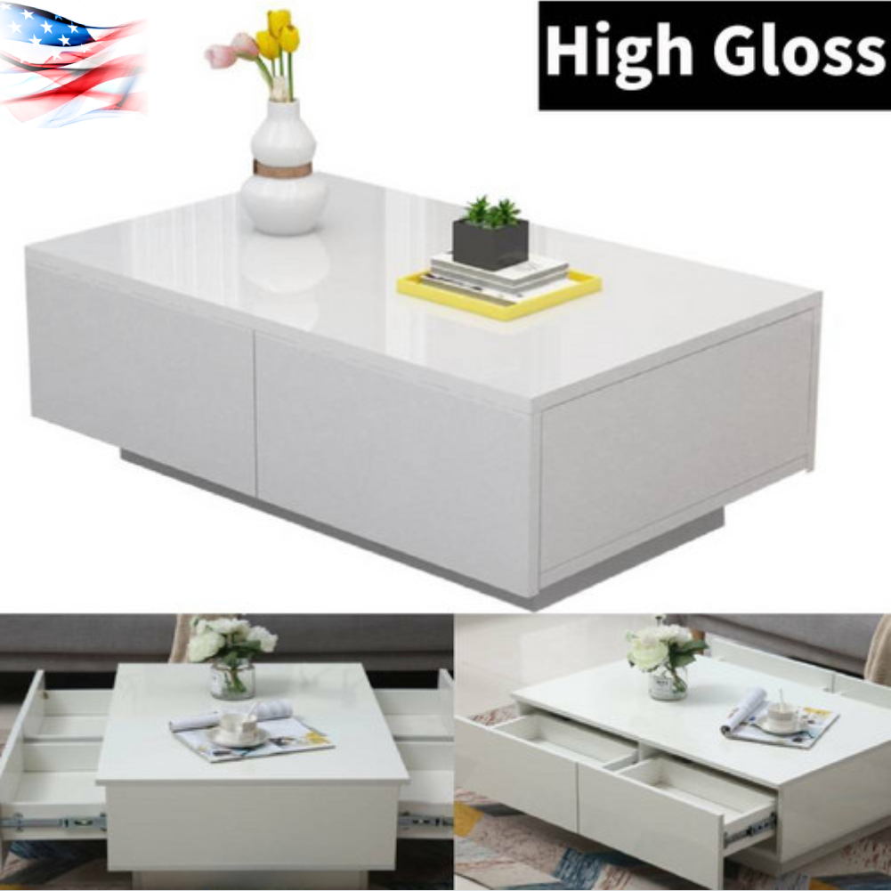 Details About High Gloss Coffee Table Tea Wooden Mdf Rectangular Living Room Furniture
