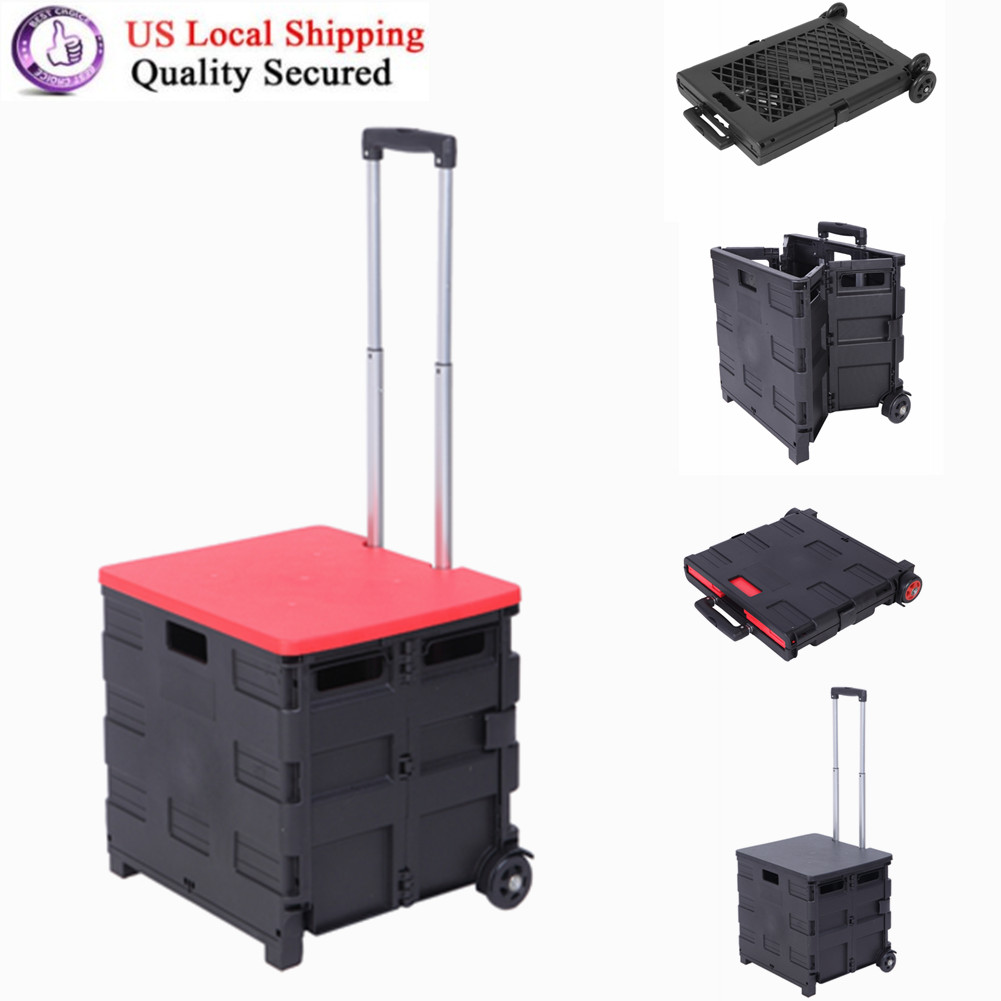LEMONDA Folding Rolling Utility Cart,Collapsible Handcart with Lid,Heay Duty Crate for Shopping Camping Home Garden Office Use