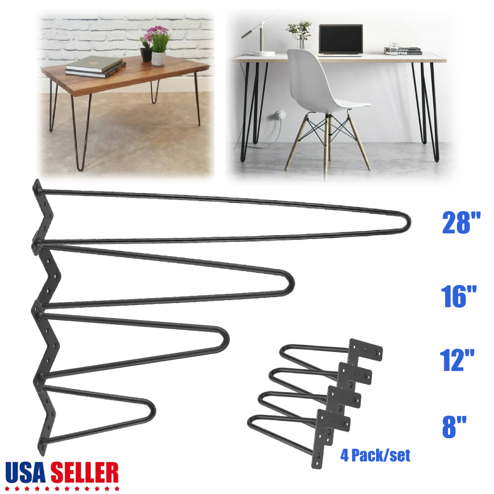 "8/"" 12/"" 16/"" 28/"" Hairpin Coffee Table Legs DIY Metal Set of 4 Home Furniture Parts"