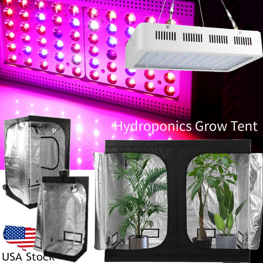 Indoor Hydro Grow Tent Kit 1000W LED Grow Light Hydroponic Veg Flower Plant