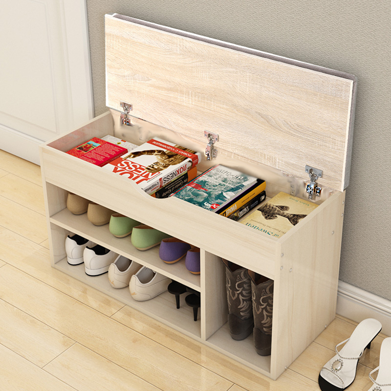 Wooden Ottoman Shoes Storage Rack Bench Padded Grey Seat Cabinet Cupboard Stand