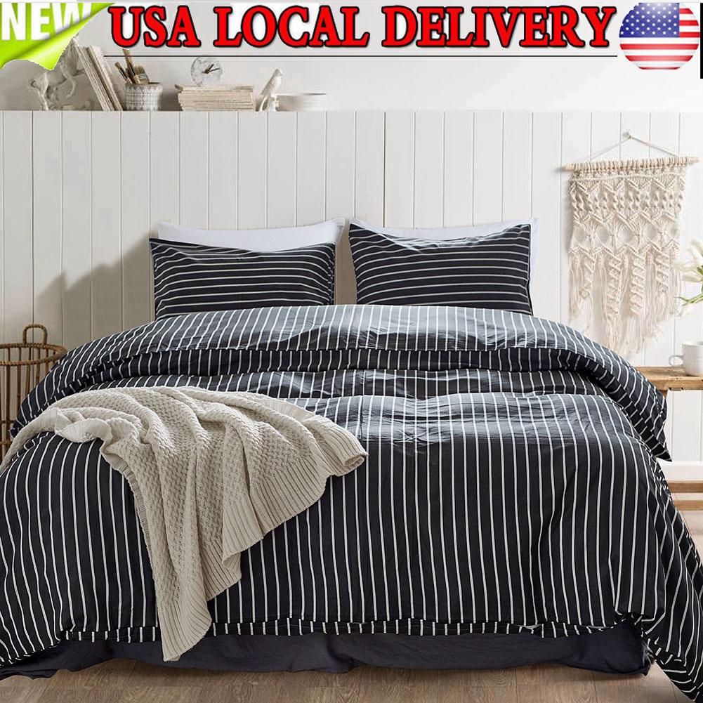 Textile Warehouse Stripe Grey White Striped Duvet Cover Bedding Set 100/% Cotton