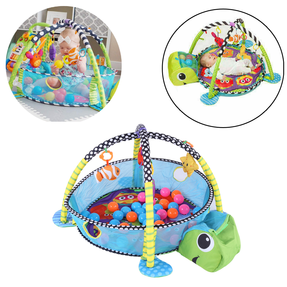 Baby Turtle Colorful Balls and Decorative Animal Toy Activity Playmat Play Mat
