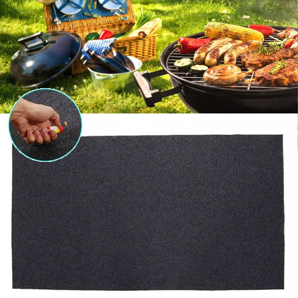 Fireproof Heat Resistant  BBQ Gas Grill Splatter Mat Backyard Floor Rug 124 cm