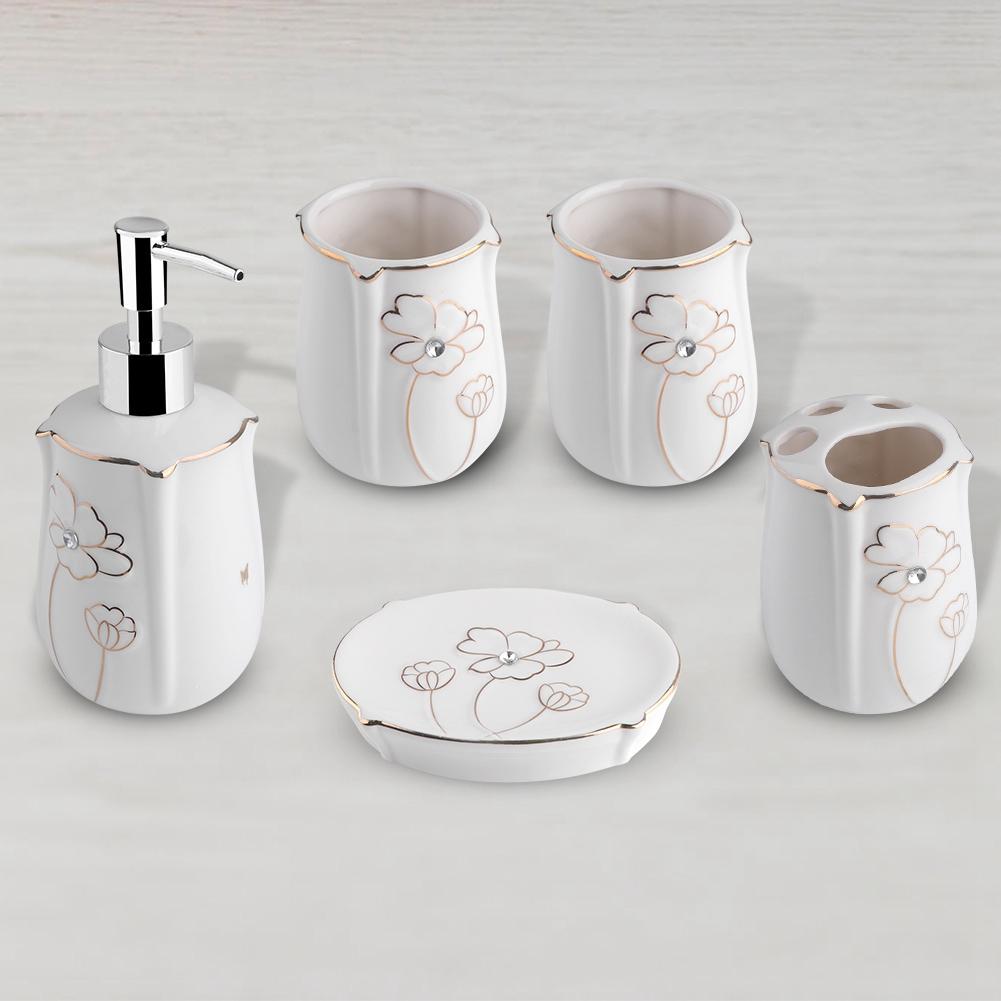 5tlg Bad Badezimmer Set Seifenspender Halter Zahnputzbecher Seifenablage Zubehör