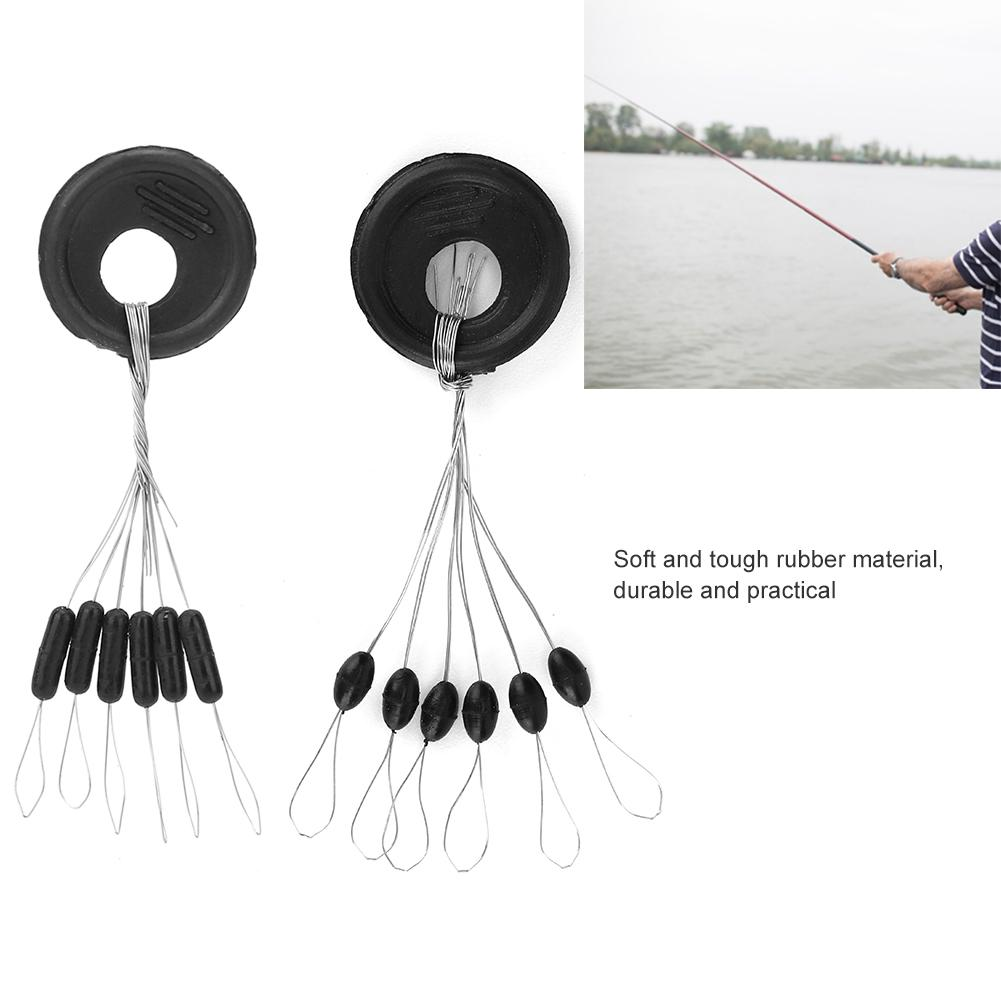 100Pcs Rubber Fishing Float Stopper Space Beans Fishing Line Stoppers Bobber
