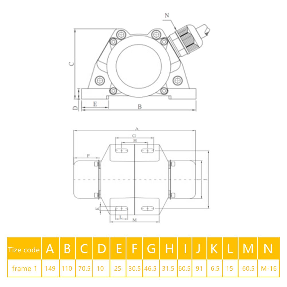 30W Vibrationsmotor Unwuchtmotor Asynchronous Vibrator Motor 220V 1-Phase NEU A+
