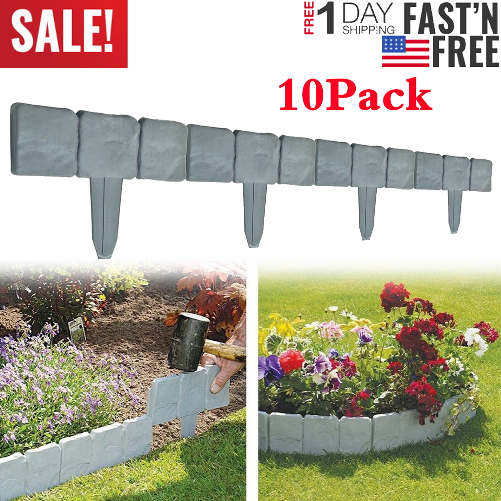 10pack Home Garden Border Edging Plastic Fence Lawn Yard Cobbled