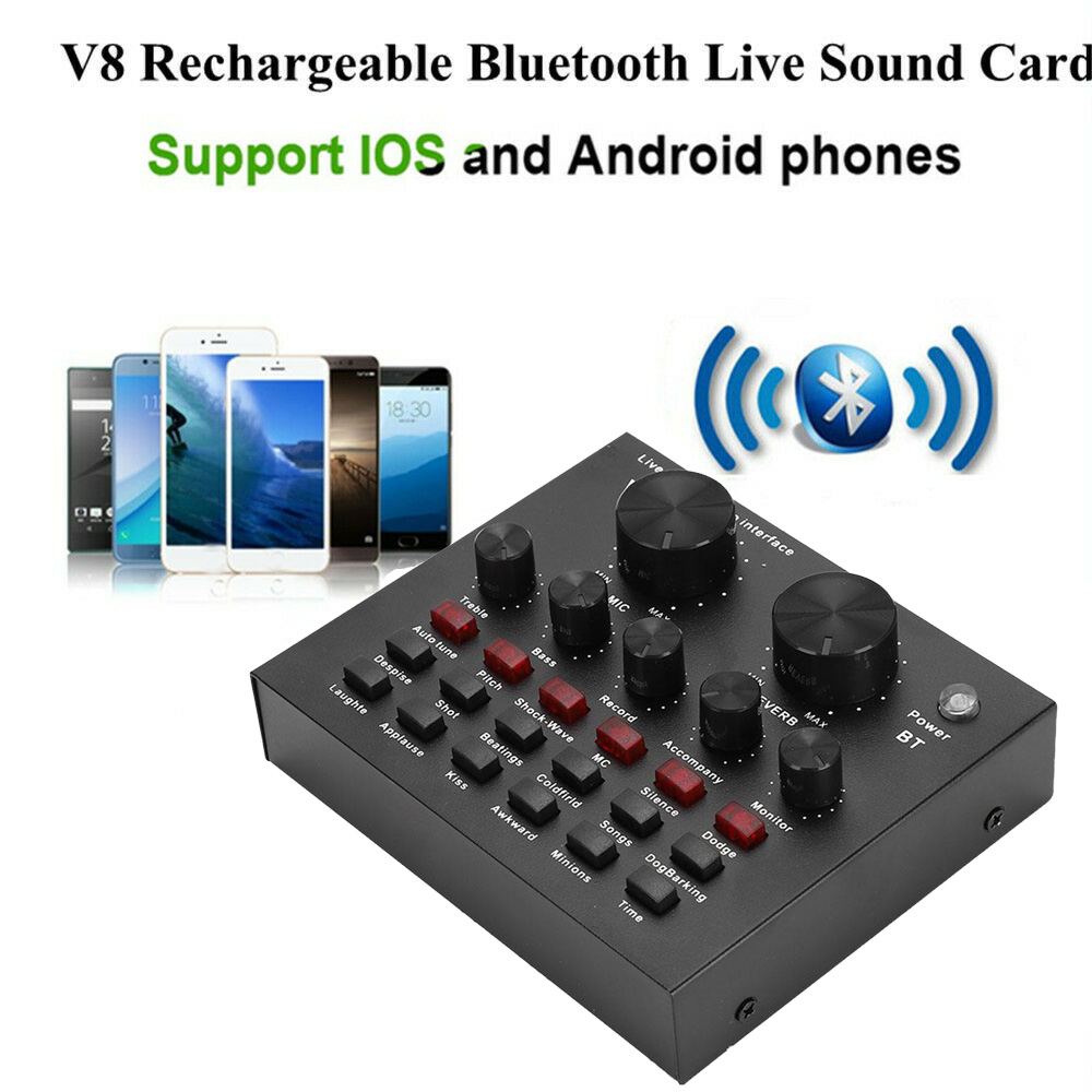 18 Sound Effects for Laptops External Sound Card Dekstops. 112 Electro-Acoustic V8 USB Audio Mixer Mobile Computer PC Live Sound Card with 6 Effect Modes Tablets