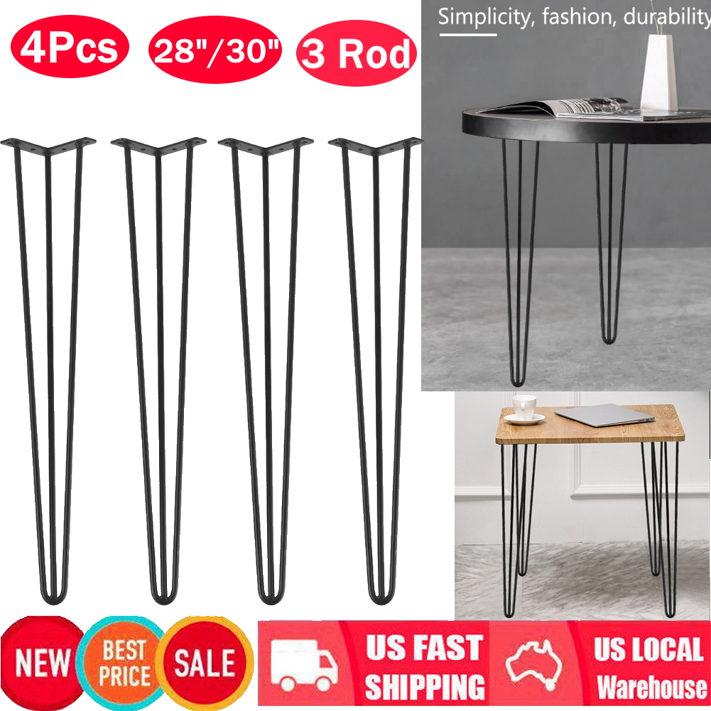 Details About 3 Rods Hairpin Coffee Table Legs Solid Iron Diy Set Of 4 Furniture Leg 28 30