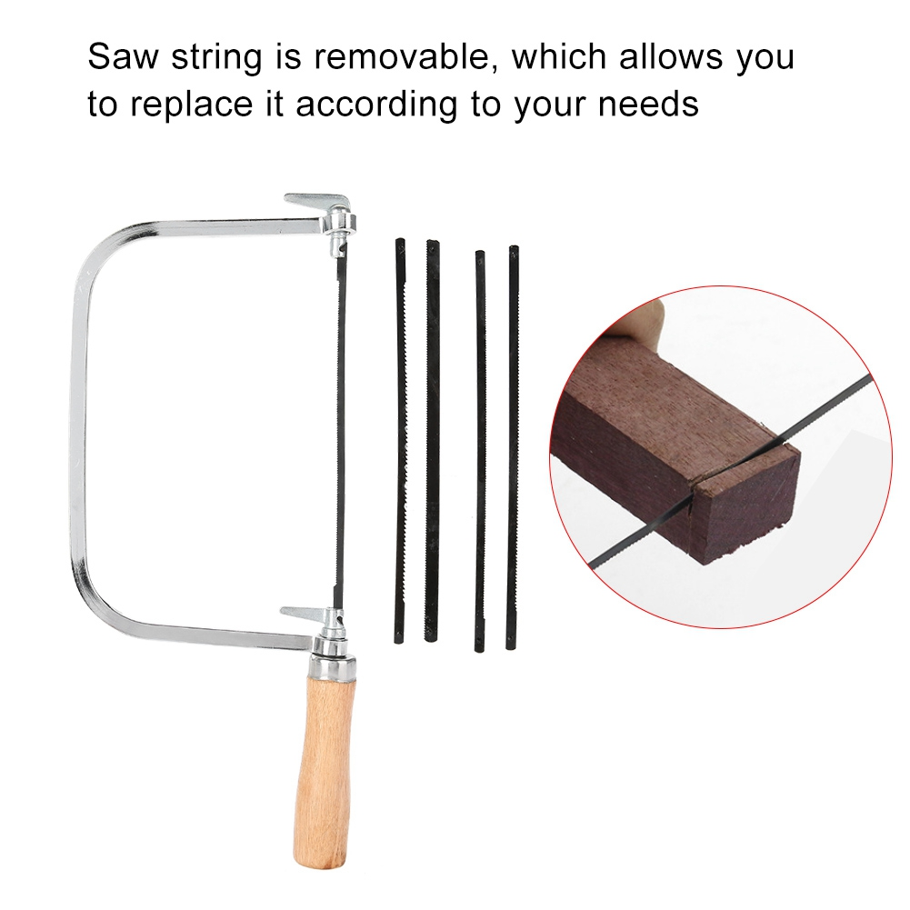 """Fret Saw Wood Handle Steel Metal Frame With 5 Blades New Hilka 6/"""" Coping"""