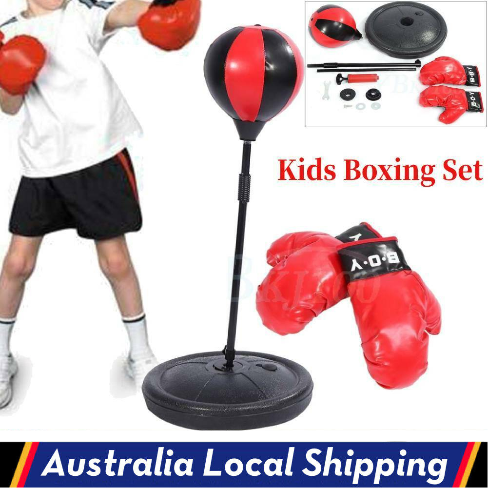Gloves Pump Set New Kids Punching Bag Boxing SpeedBall Speed Training Stand