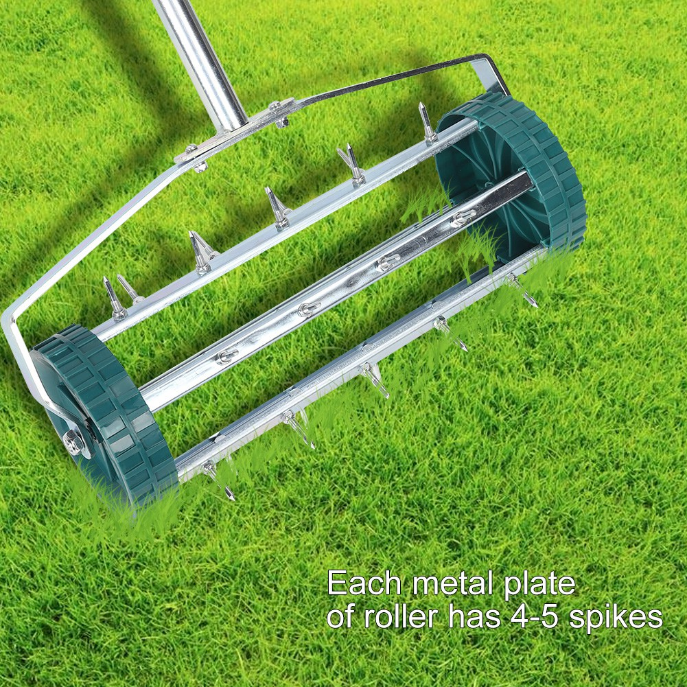 Adjustable Rolling Garden Lawn Aerator Roller Home Grass Iron Handle Green New
