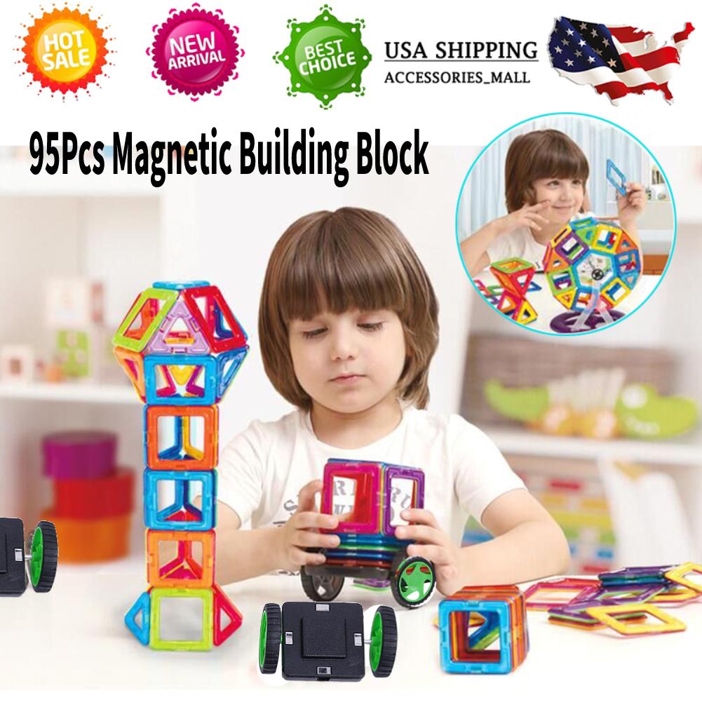 95Pcs Magnetic Building Blocks Toys Educational Magnetic Tiles Set for Kids Gift
