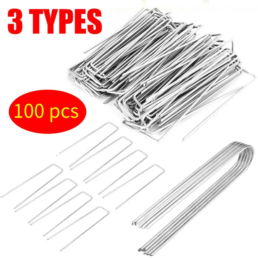 Staples U Pins,100pcs Reusable Half Green Artificial Turf U Pins,Metal Galvanised Pegs Staples Weed,Durable,Safe and Non-Toxic