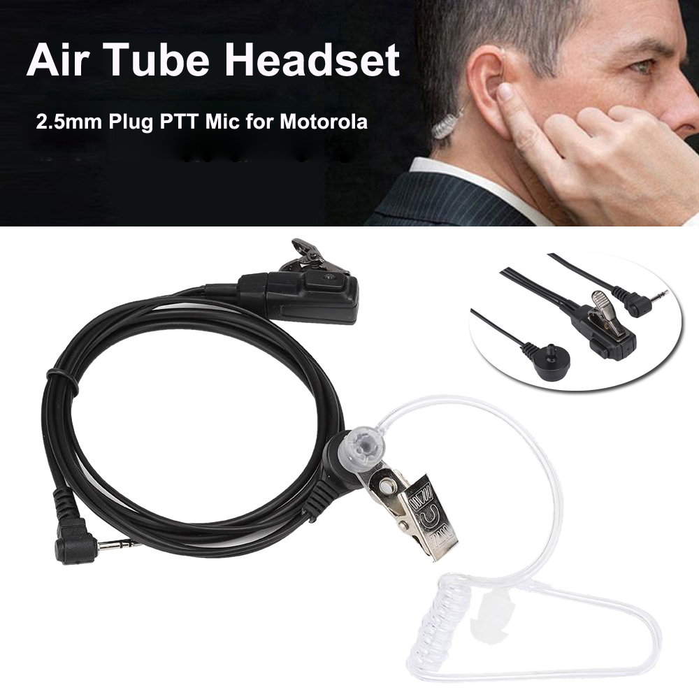 2.5mm Air Tube Ear-Hook Earpiece FBI Earphone Headset Mic Radio Walkie Talkie