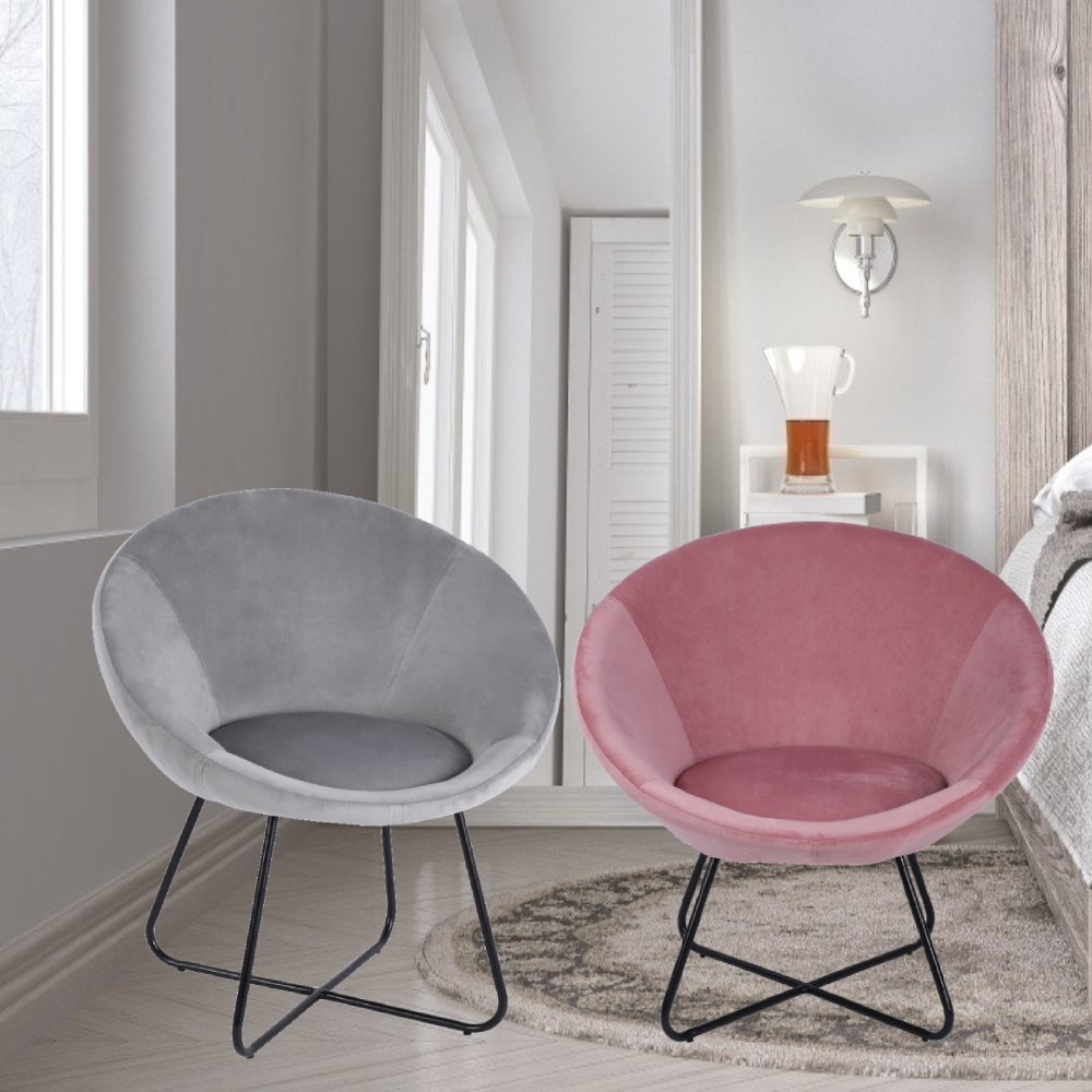 Velvet Occasional Chair Pink Grey Bedroom Living Room Accent