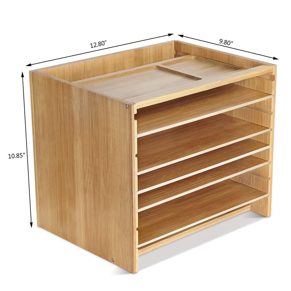 Bamboo DIY Assemble Desktop Organizer Office Desk Organizer Drawer File Holders