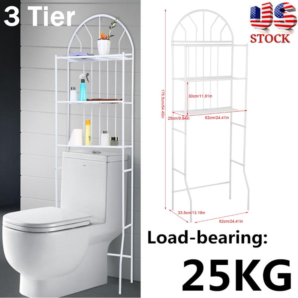 Towel Storage Rack Over The Toilet Washing Machine Shelf Bathroom Organizer ~