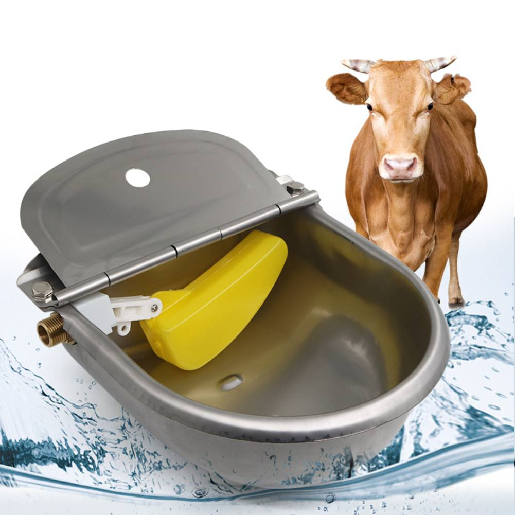 Stainless Water Trough Bowl Automatic Drinking Drinker Cattle Chicken Donkey