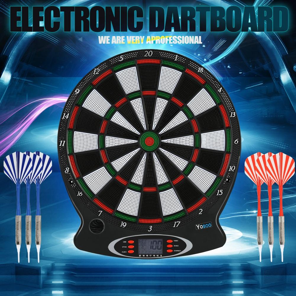 Elektronische Dartscheibe LCD Scoring Indicator Dart Spiel mit 6pcs Darts DE M