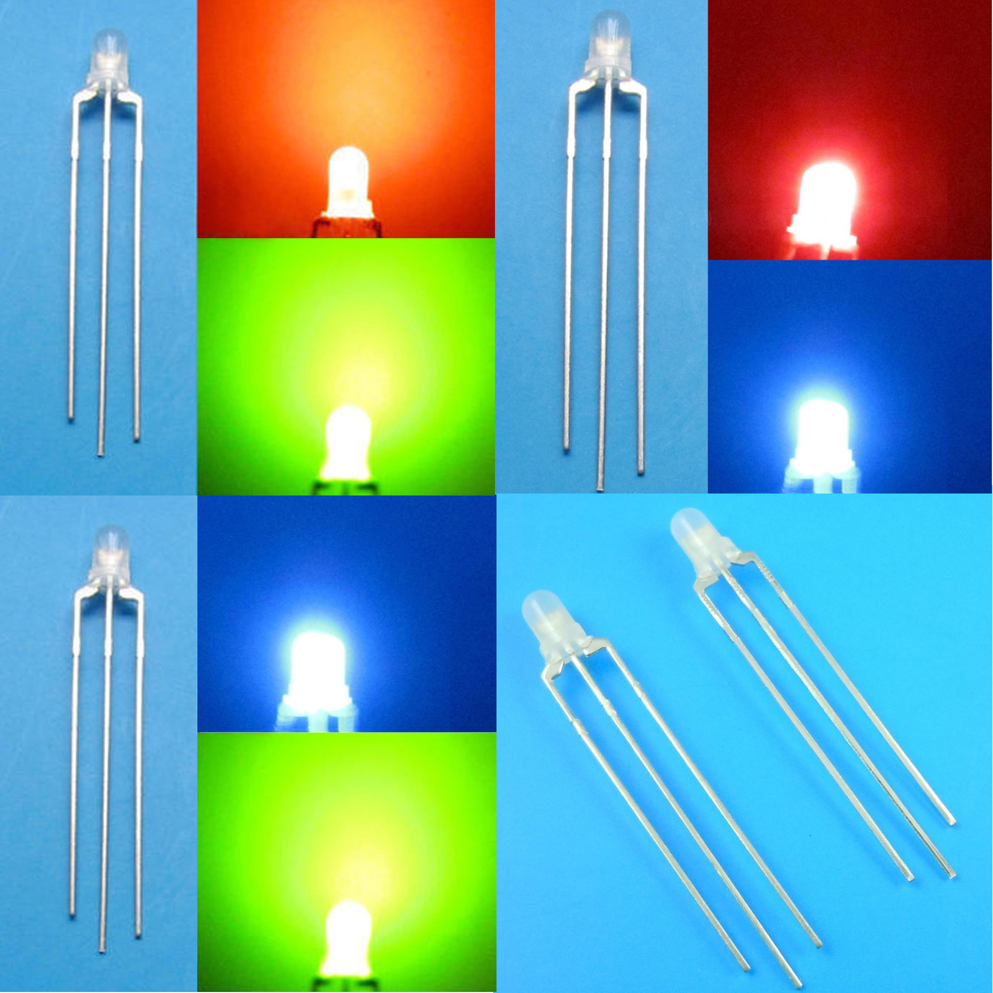 Dual LEDs RED resistors GREEN  X 20  common anode inc