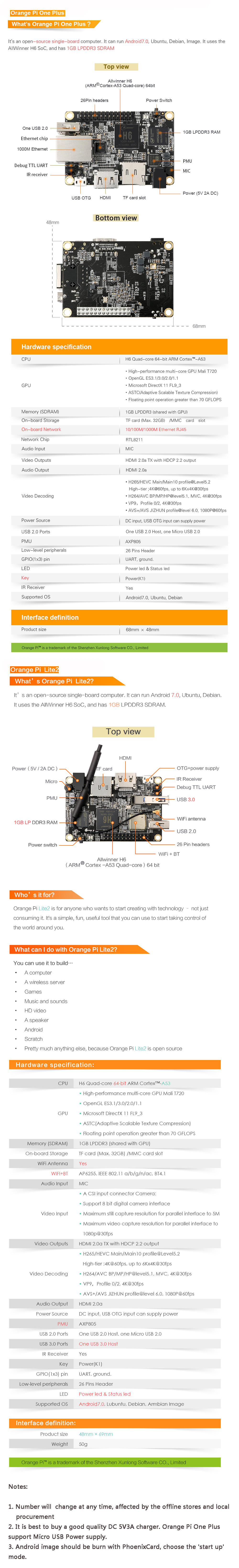 Details about Orange Pi Lite2/One Plus H6 Development Board Quad-core 64bit  1GB DDR3 AU