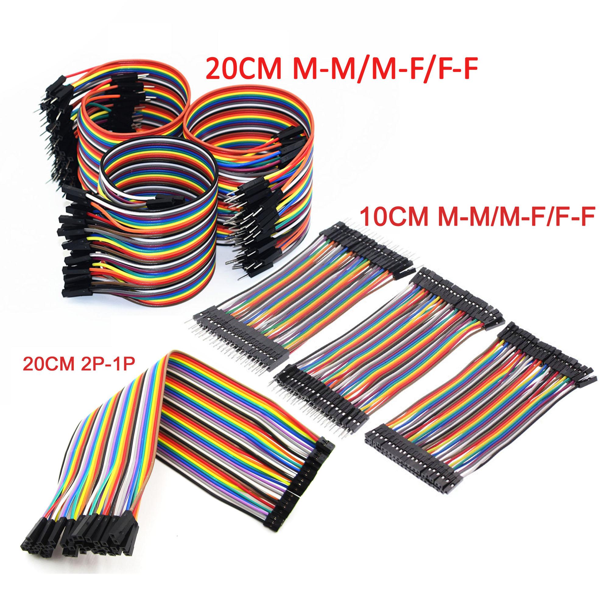 40PCS Dupont Wire Color Jumper Cable 2.54 mm 1P-1P Mâle à Femelle Arduino 20 cm Sal