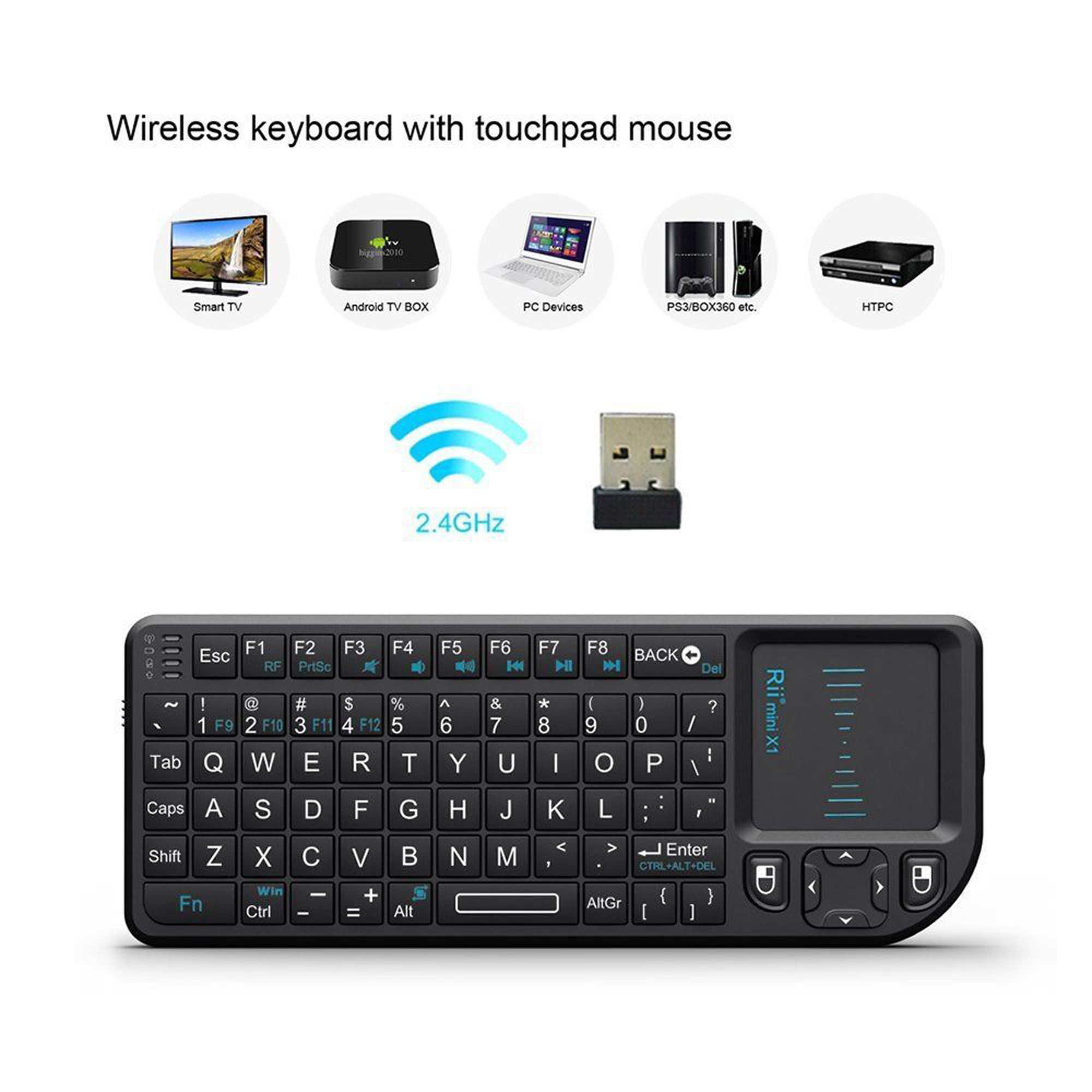 RII Mini X1 2.4GHz Wireless Keyboard with Mouse Touchpad and Remote Control