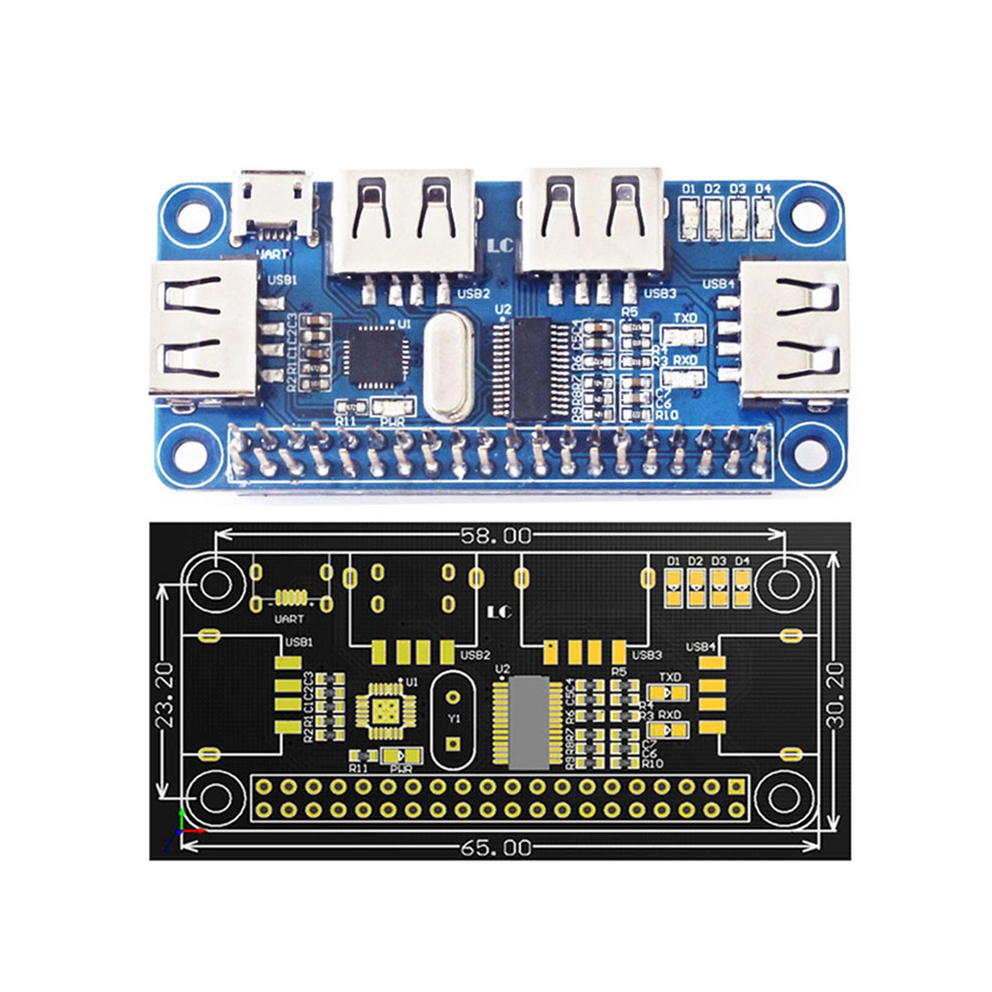 Details about 4 Port USB HUB HAT Expansion Board Raspberry Pi 3 Model B  /Zero V1,3/Zero W US