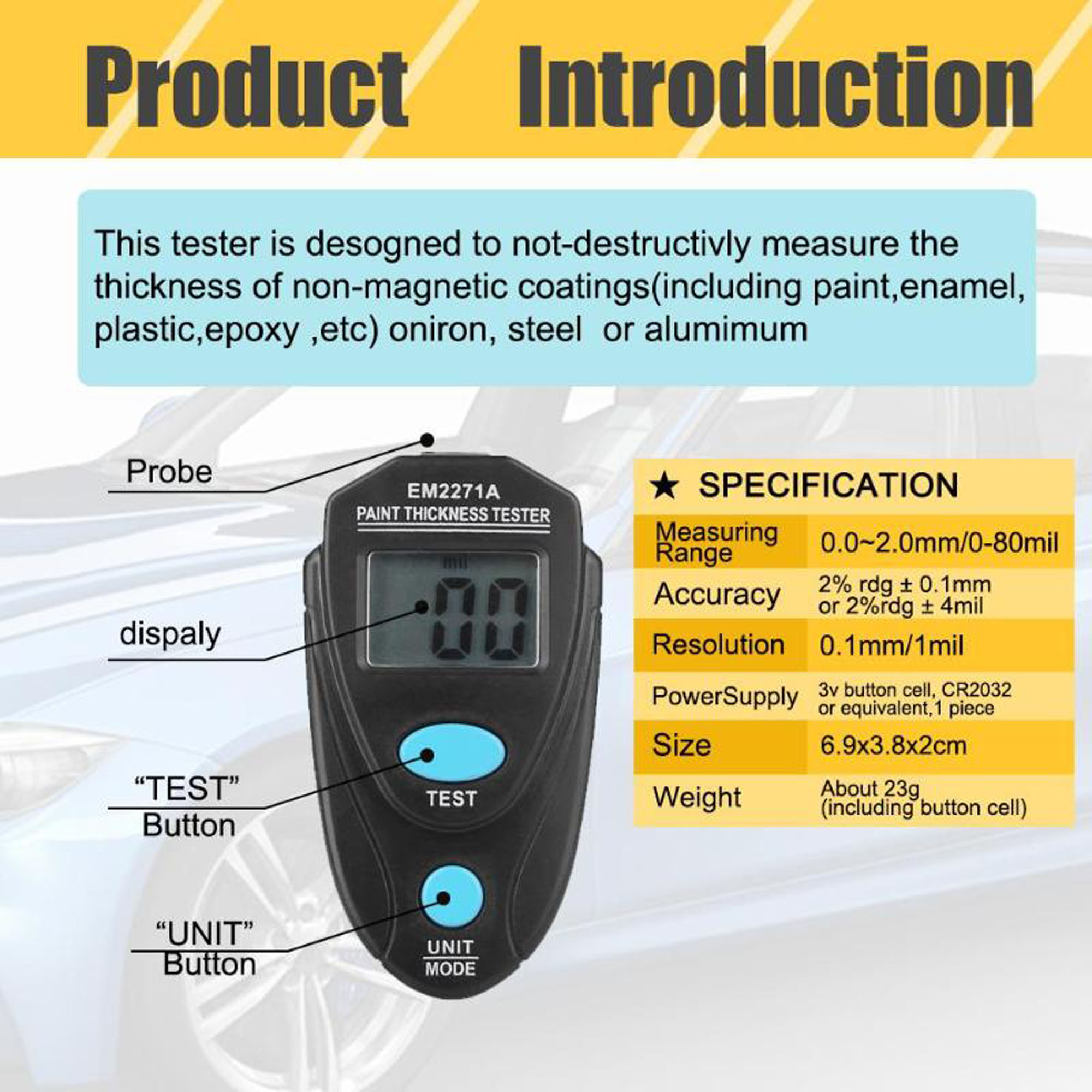 etc Black Digital Paint Thickness Tester,Mini LCD Display Portable Car Coating Gauge Paint Meter Mesuring Instrument with Probe for Paint Plastic epoxy Enamel