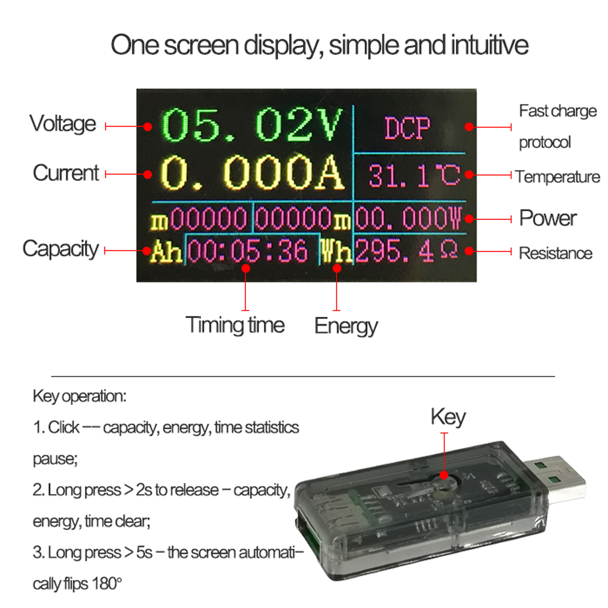 TC64 Type-C Color LCD USB Voltmeter ammeter battery PD Charge USB Prüfer AHS