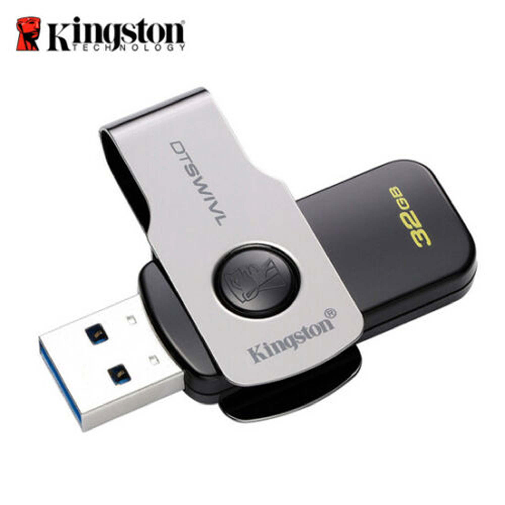 Kingston 32GB Data Traveler SWIVL USB 3.1 Capless Swivel Flash Pen Drive DTSWIVL