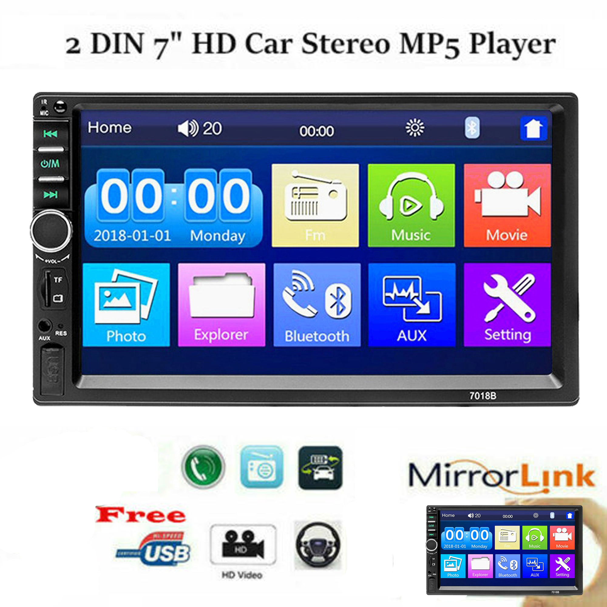 Double-Din Bluetooth Radios Player 7inch 2Din BT Car Multimedia Radios Player Audio MP5 Player Rear View Camera
