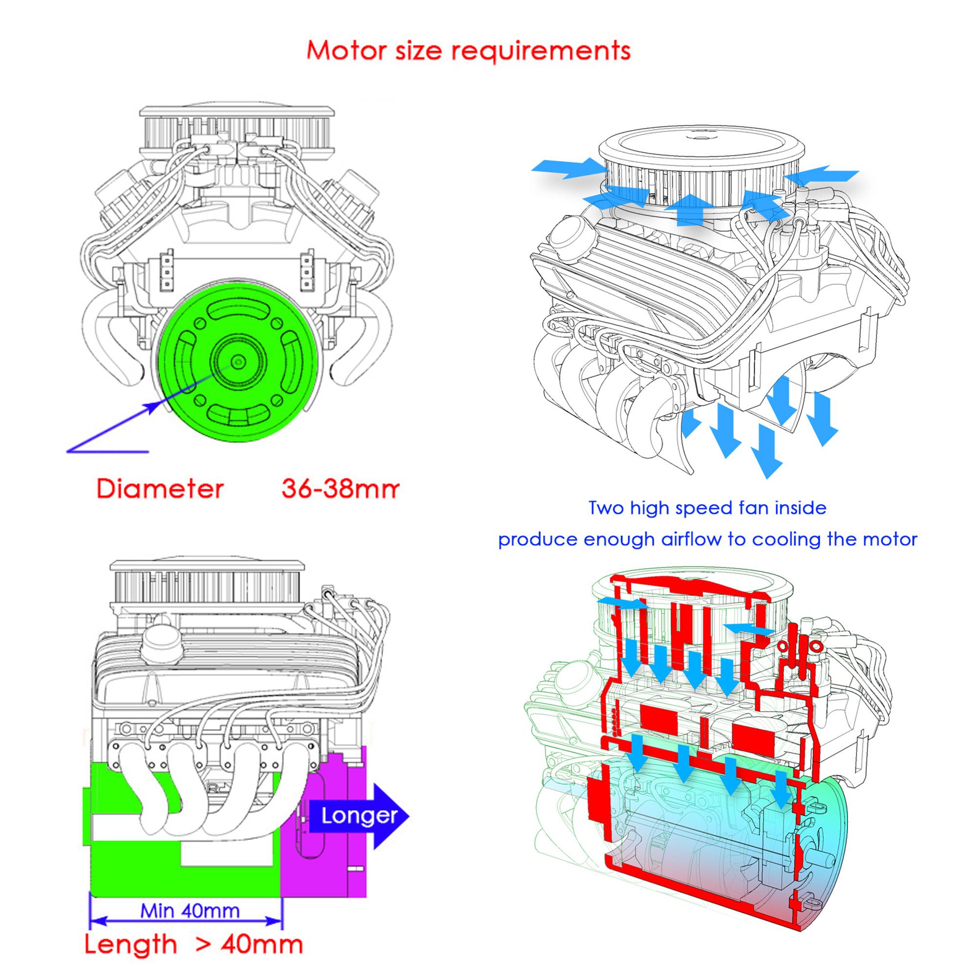 GRC V8 Simulate Engine Cooling Fan Set for 1//10Crawle TRX4 SCX10 RC4WD D90