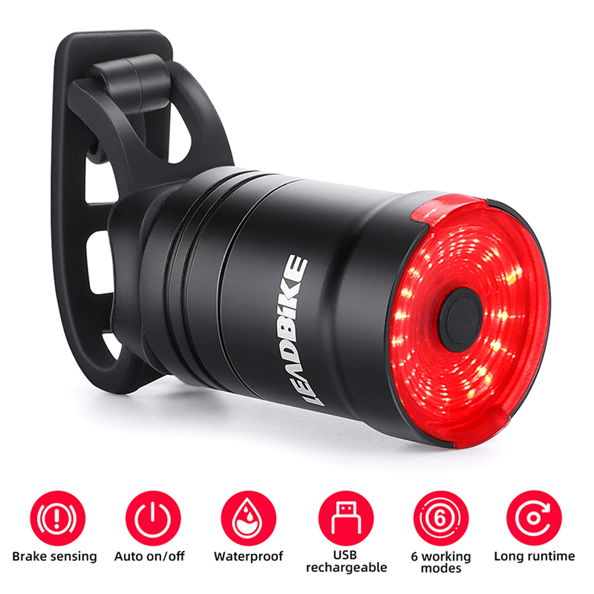 IPx6 Waterproof LED Charging Smart Bicycle Auto Brake Sensing Cycling Tail Light