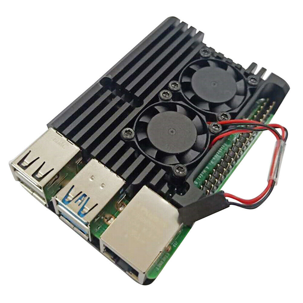 Enclosure Aluminum Alloy Case with Heat-Sink Pillar Heat Cooling Case for Raspberry Pi 4 Dual Cooling Fan