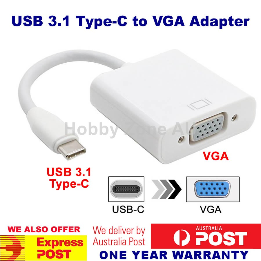 USB3.1 Type C USB-C to VGA Adapter Cable 1080p HD for MacBook Chromebook AU