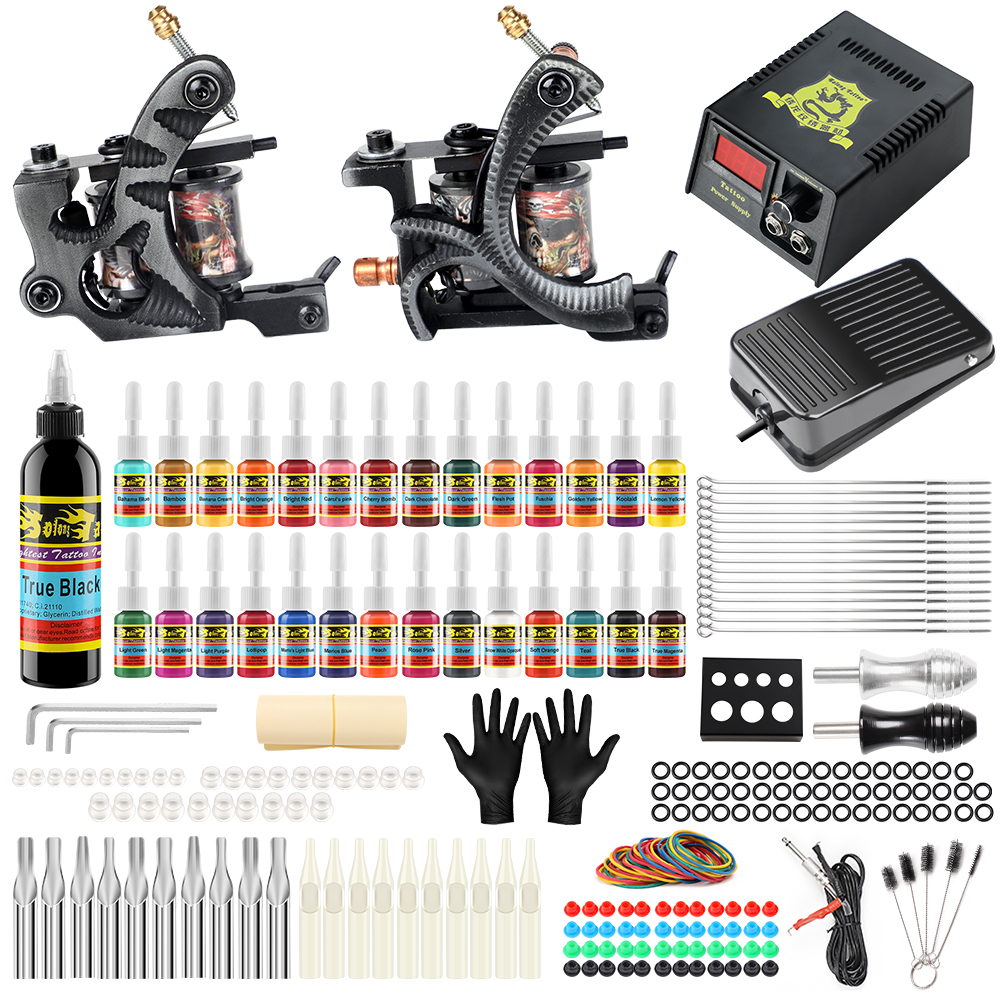 Beginner Tattoo Kit 2 Pro Machine Guns 28inks Power Supply Needle Grips Tk224 Ebay How to purchase it carefully? details about beginner tattoo kit 2 pro machine guns 28inks power supply needle grips tk224