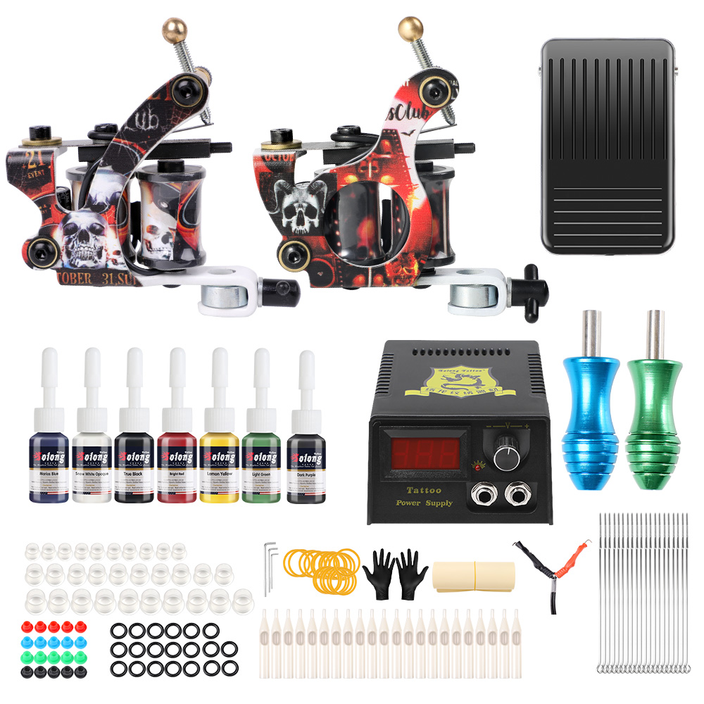 Details About Complete Tattoo Machine Set Tattoo Kit 7 Colors Tattoo Ink Power Supply Us Stock
