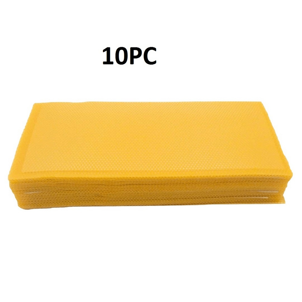 10pcs Yellow Honeycomb Foundation Bee Hive Wax Frames Beekeeping Equipment Sheet