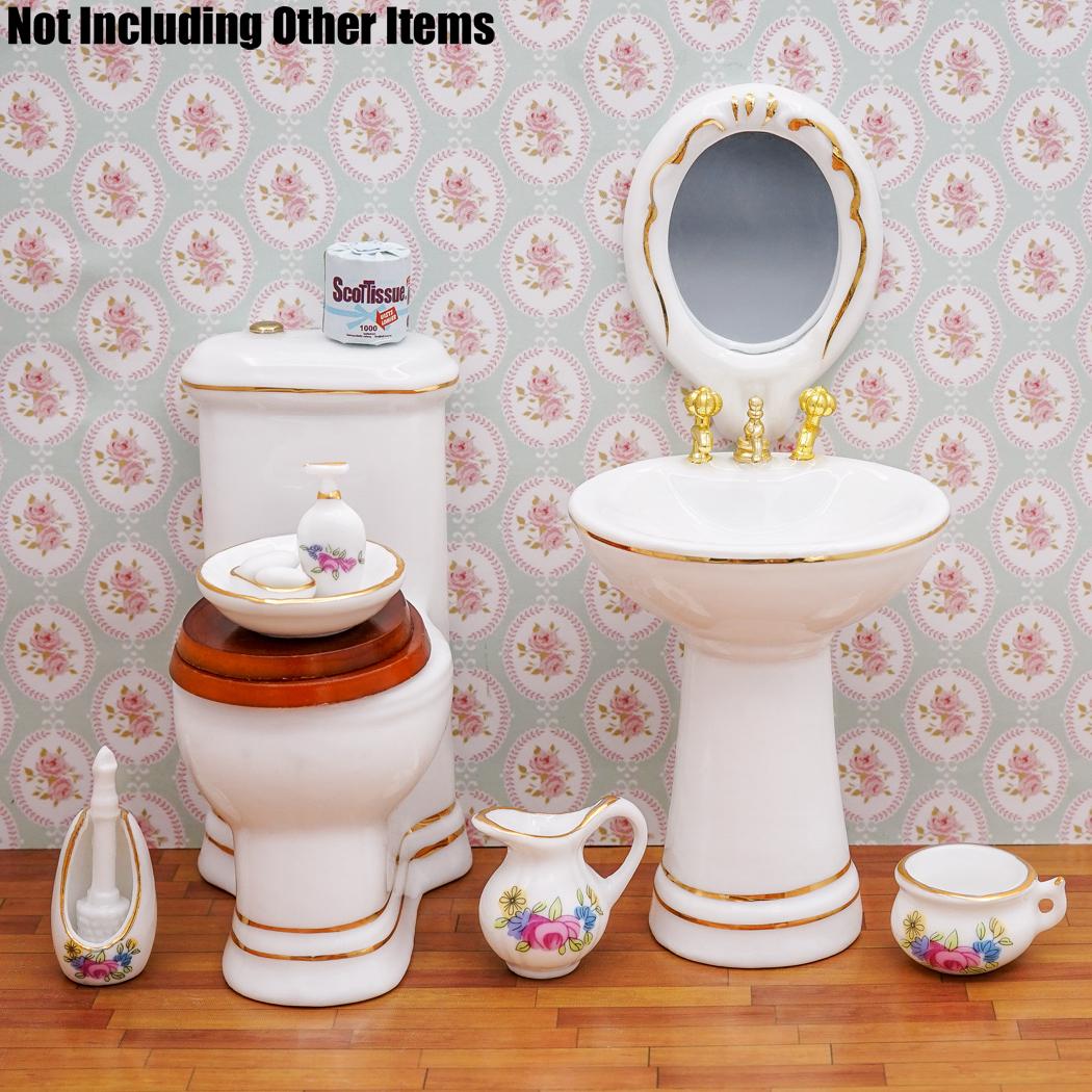 Conjunto de Baño De Porcelana Dispensador de Jabón Champú Juguete 1:12 Casa de muñecas en miniatura 7 un