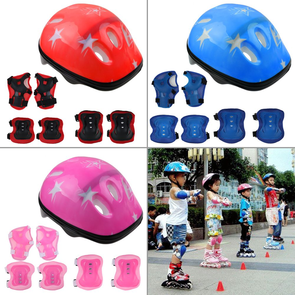 7Pcs Kid Children Roller Skating Bike Helmet Knee Elbow Pad Wrist Guard Sets