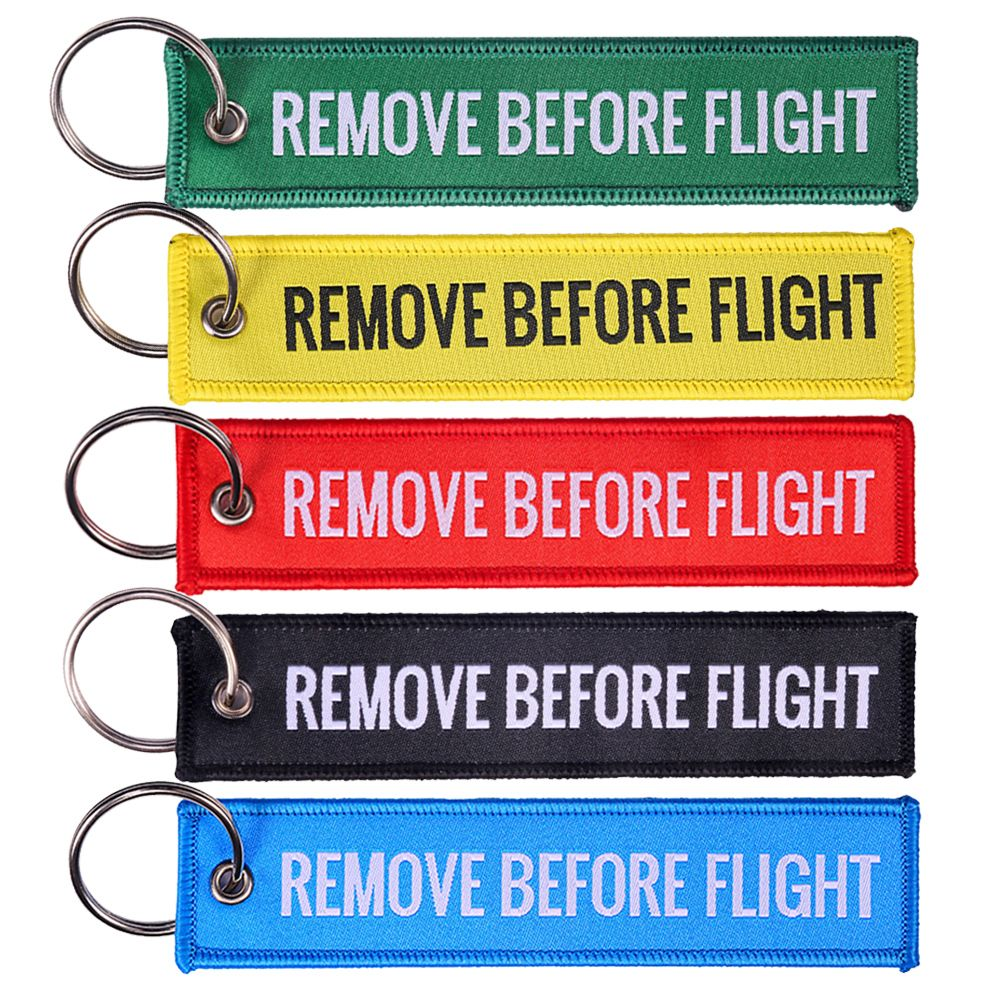 Red Mini  Remove Before Flight Embroidered Canvas Luggage Tag Label Key Chain YK