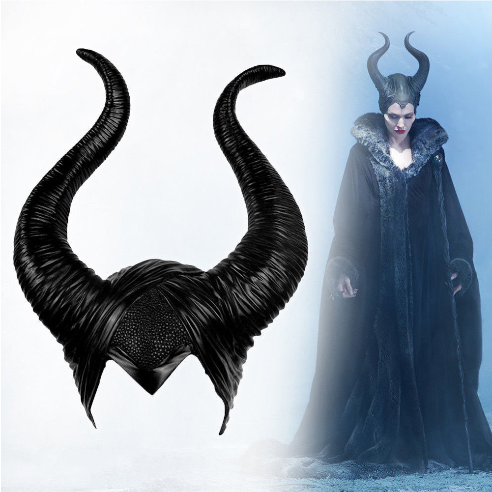 Details About Women Maleficent Horns Halloween Party Witch Cosplay Black Headpiece Hat Prop Us