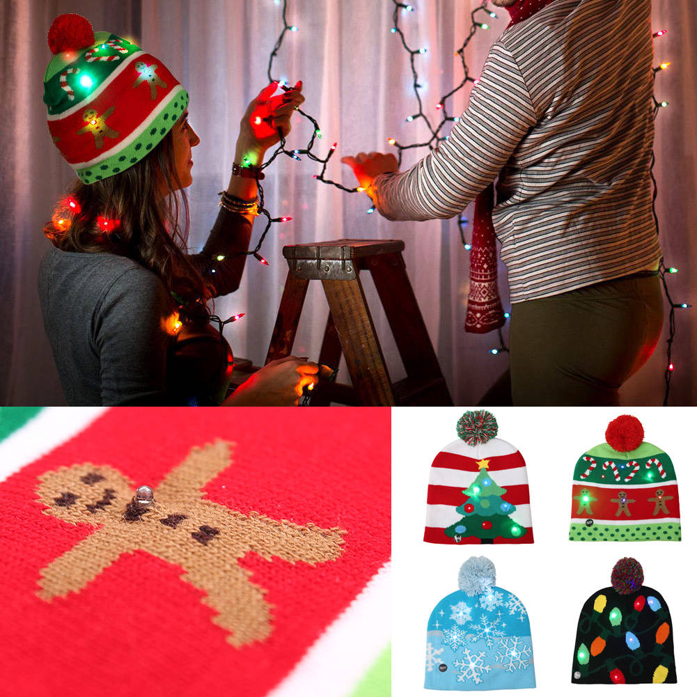 Details about LED Christmas Tree Beanie Ugly Christmas Sweater Light Up  Knitted Hat Led Cap ca36a8ddfb63