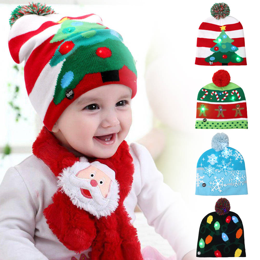 225af5cc8a1 LED Christmas Knitted Hat Xams Tree Warm Light Up Beanie Cap Party ...